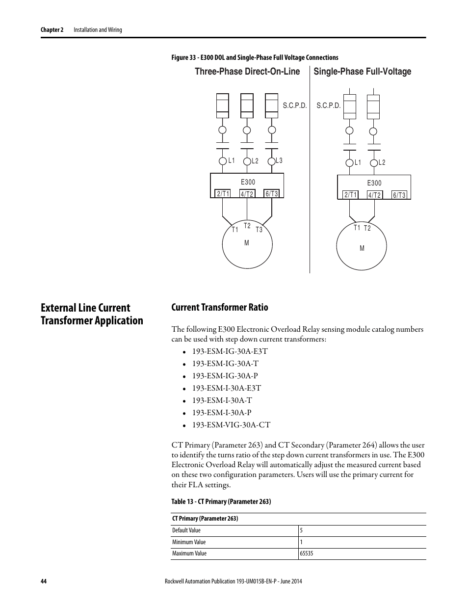 medium resolution of external line current transformer application current transformer ratio rockwell automation 592 e300 overload relay user manual user manual page 44