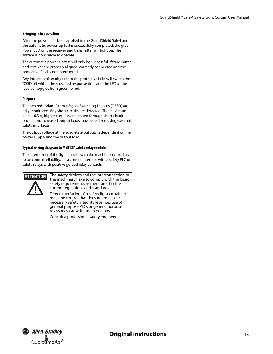 medium resolution of  original instructions rockwell automation 445l guardshield safe 4 on buzzer wiring diagram