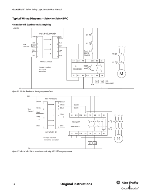 small resolution of original instructions typical wiring diagrams safe 4 or safe 4 pac connection with guardmaster si safety relay rockwell automation 445l guardshield safe