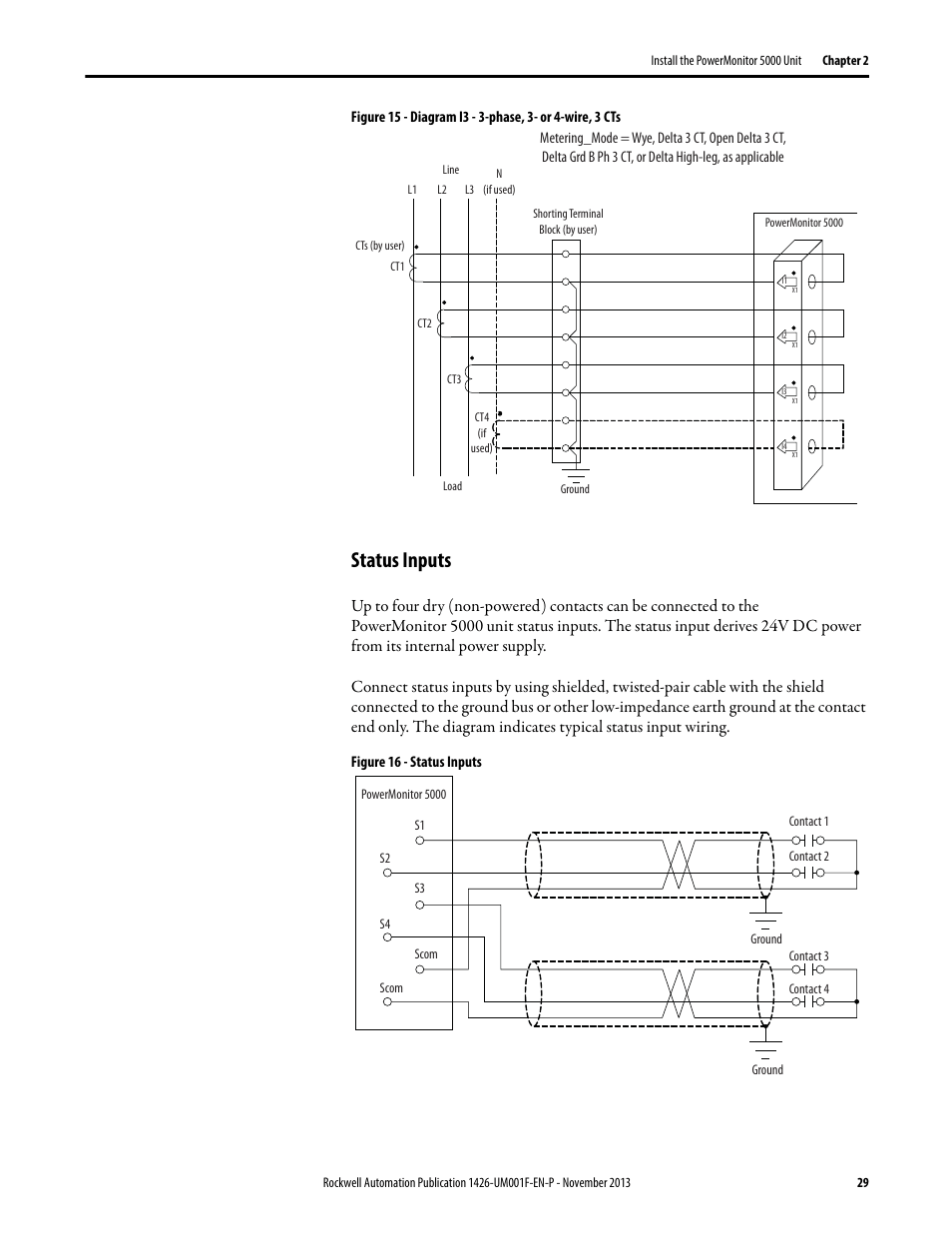 medium resolution of status inputs rockwell automation 1426 powermonitor 5000 unit user manual page 29 396