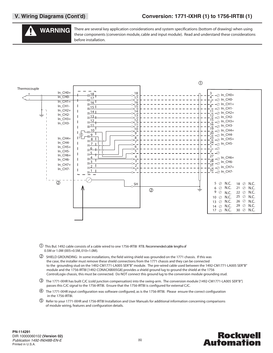 hight resolution of warning v wiring diagrams cont d rockwell automation 1492 cm1771 la005 analog i o conversion module user manual page 6 8