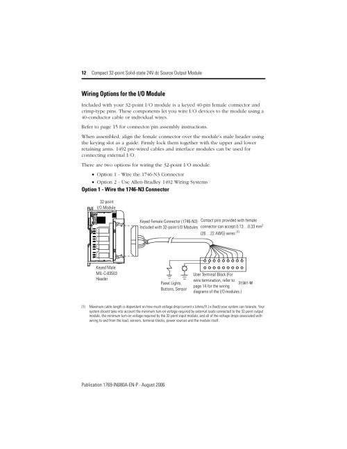 small resolution of wiring options for the i o module rockwell automation 1769 ob32t compact 32 point solid state 24v dc source output module user manual page 12 24