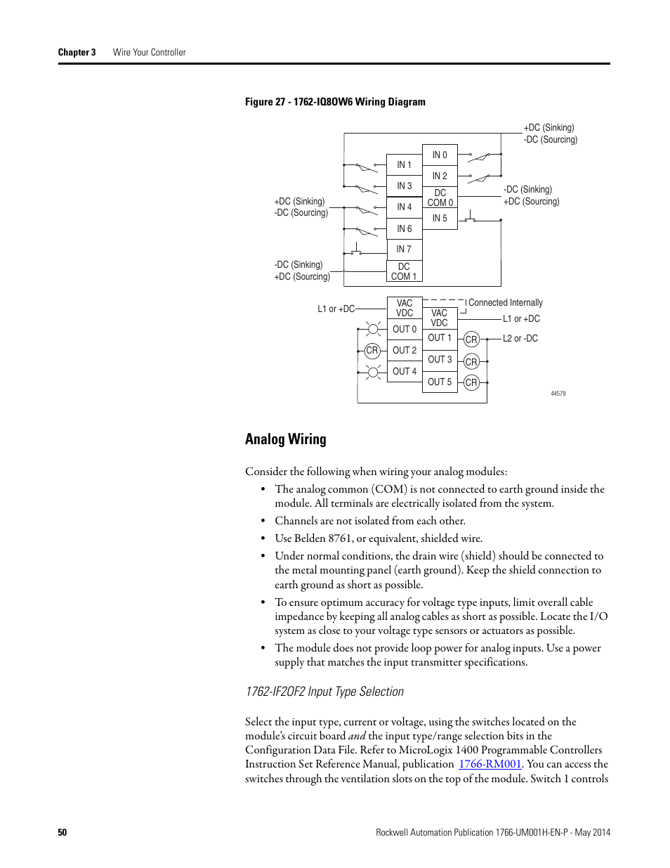 hight resolution of analog wiring 1762 if2of2 input type selection rockwell automation 1766 lxxxx micrologix 1400 programmable controllers user manual user manual page 64