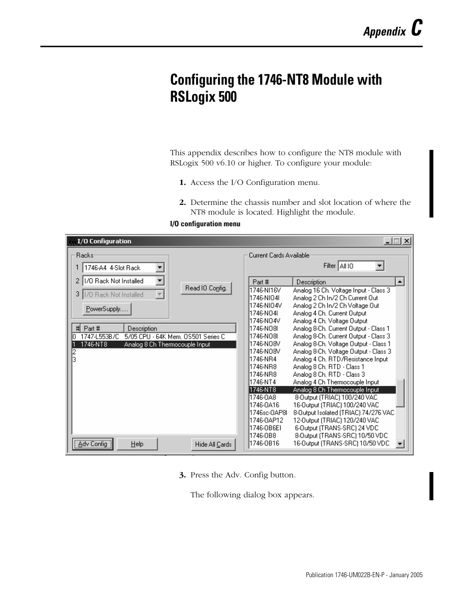 Configuring the 1746-nt8 module with rslogix 500, Appendix