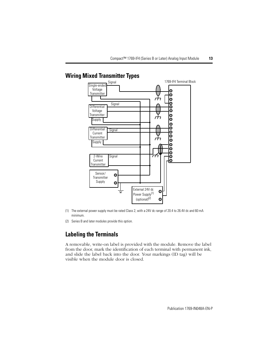 hight resolution of wiring mixed transmitter types labeling the terminals rockwell automation 1769 if4 compact series b or later analog input module user manual page 13