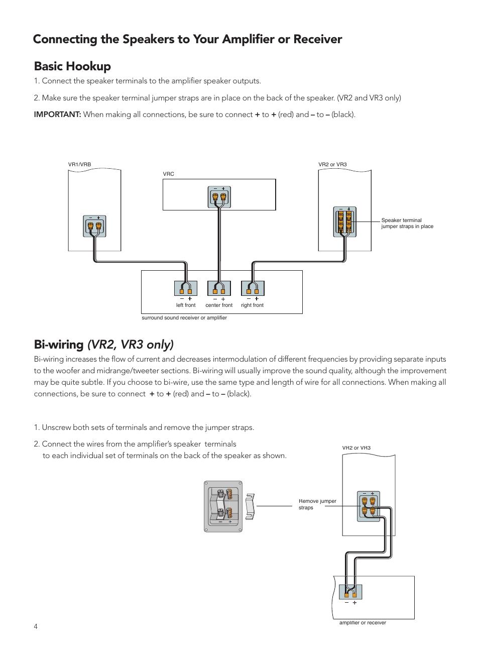 medium resolution of basic hookup bi wiring vr2 vr3 only boston acoustics vrc user manual page 4 8