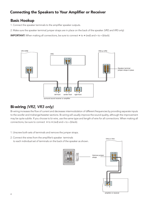 small resolution of basic hookup bi wiring vr2 vr3 only boston acoustics vrc user manual page 4 8