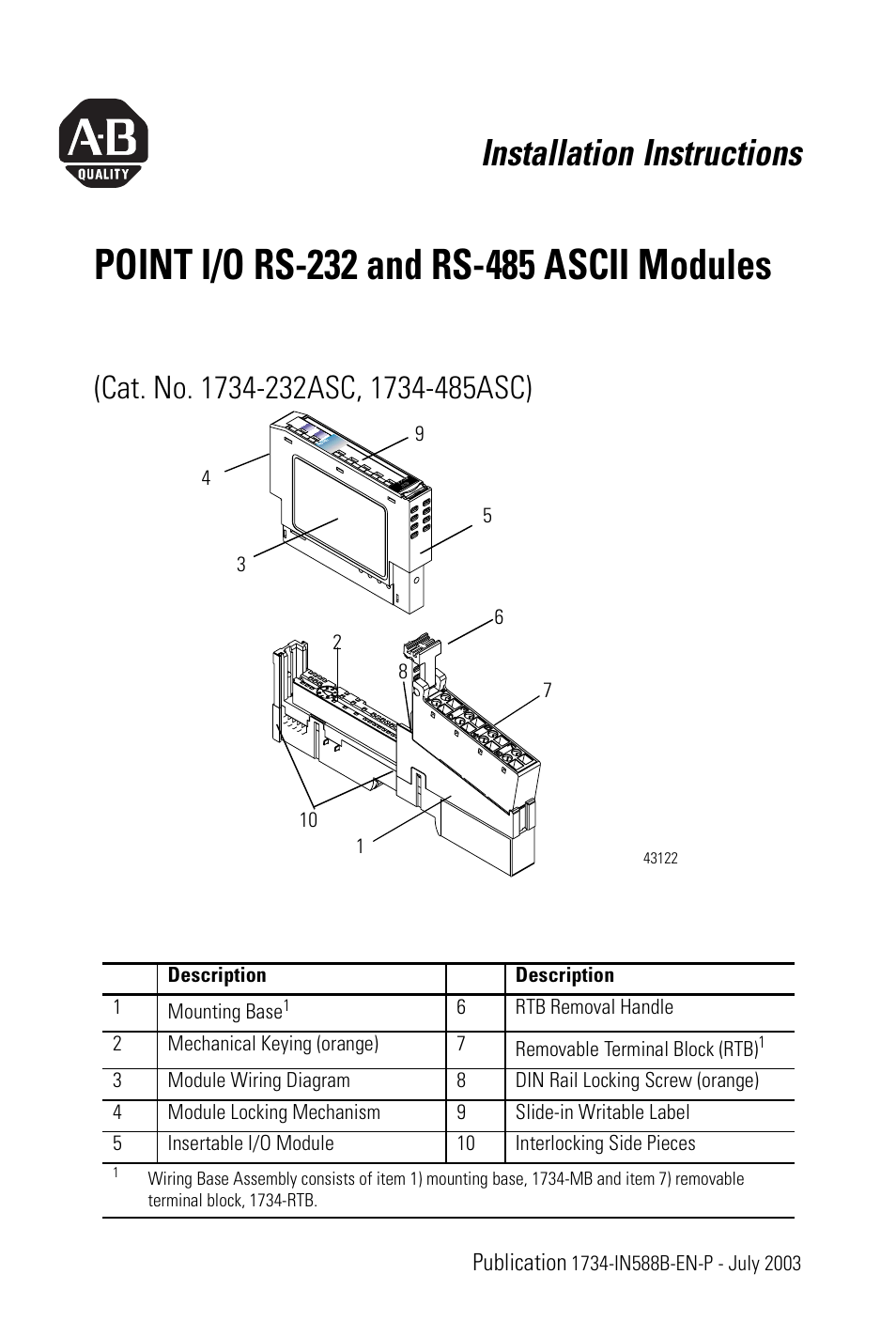 medium resolution of rockwell automation 1734 485asc point i o rs 232 and rs 485 ascii modules installation instructions user manual 24 pages also for 1734 a232asc point