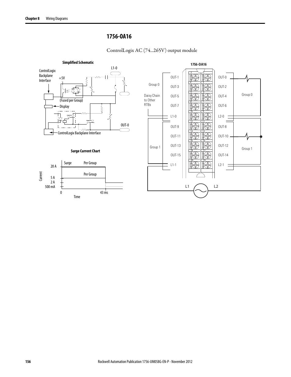 1756 Oa16 Controllogix Ac 74 V Output Module Rockwell