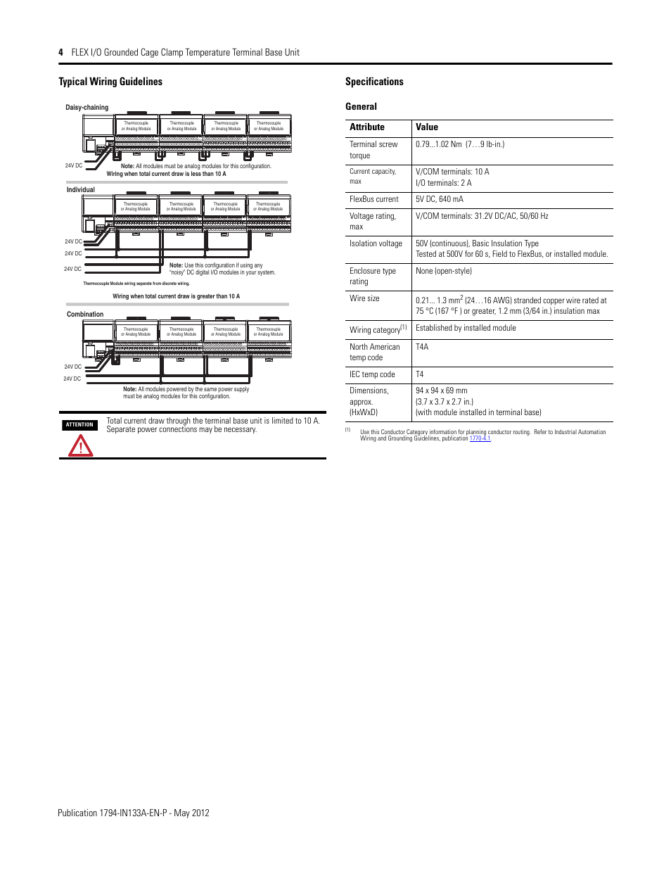Typical wiring guidelines, Specifications, Typical wiring