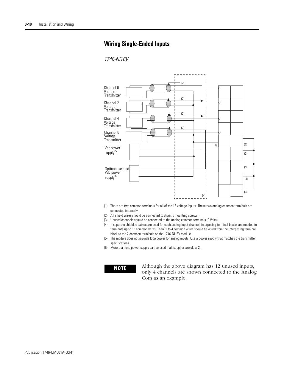 medium resolution of wiring single ended inputs 10 wiring single ended inputs rockwell automation 1746 ni16v slc 500 analog input modules user manual user manual page 32