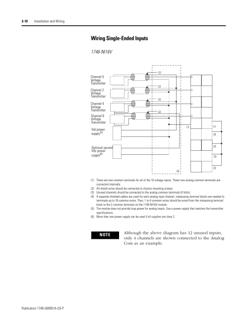 small resolution of wiring single ended inputs 10 wiring single ended inputs rockwell automation 1746 ni16v slc 500 analog input modules user manual user manual page 32
