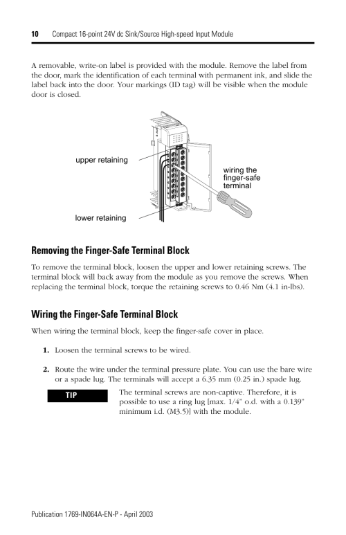 small resolution of removing the finger safe terminal block wiring the finger safe terminal block rockwell automation 1769 iq16f compact 24v dc sink source input module user