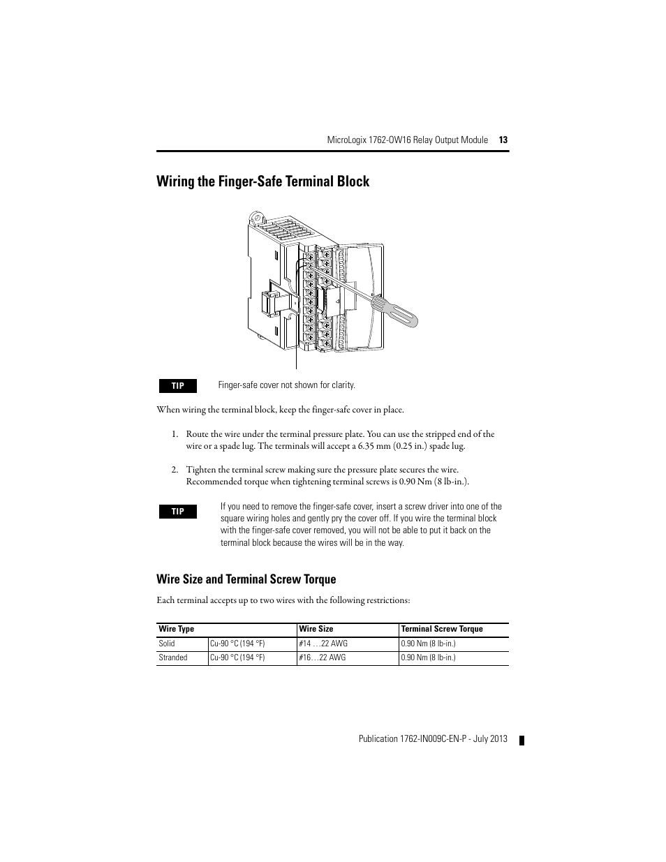hight resolution of wire size and terminal screw torque wiring the finger safe terminal block rockwell automation 1762 ow16 relay output module user manual page 13 20