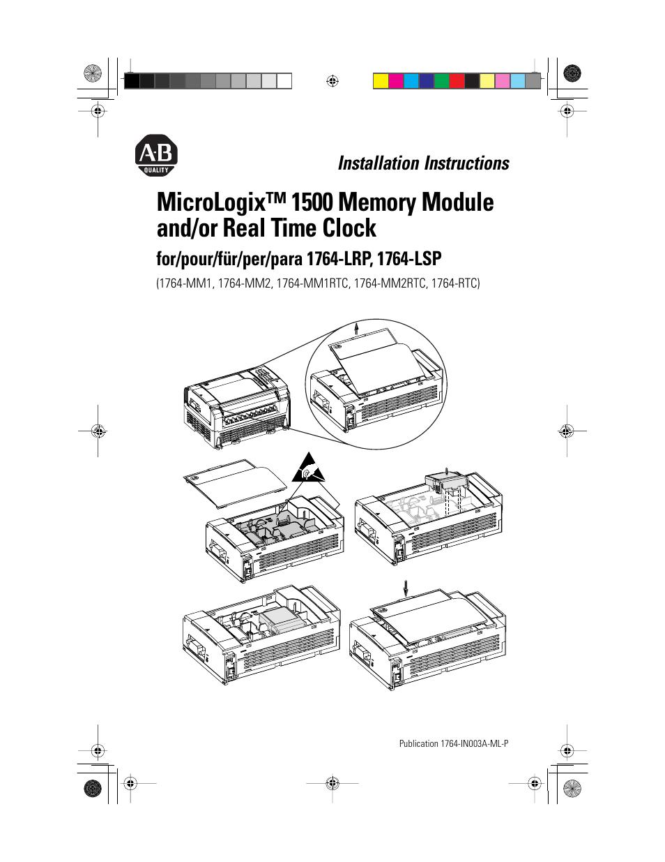 Rockwell Automation 1764-RTC MicroLogix 1500 Memory Module