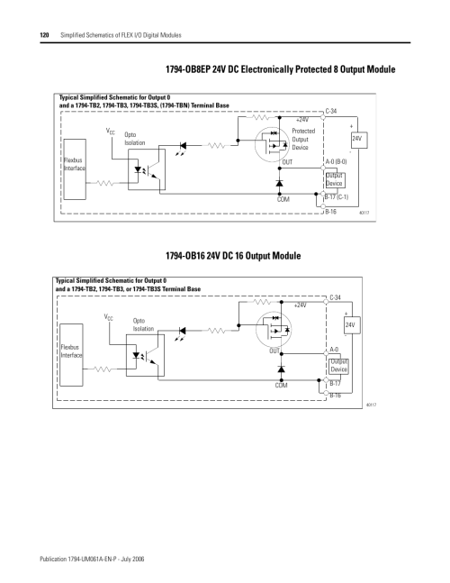 small resolution of rockwell automation 1794 ob16d flex i o diagnostic modules user manual page122 1794 ob16 24v dc 16