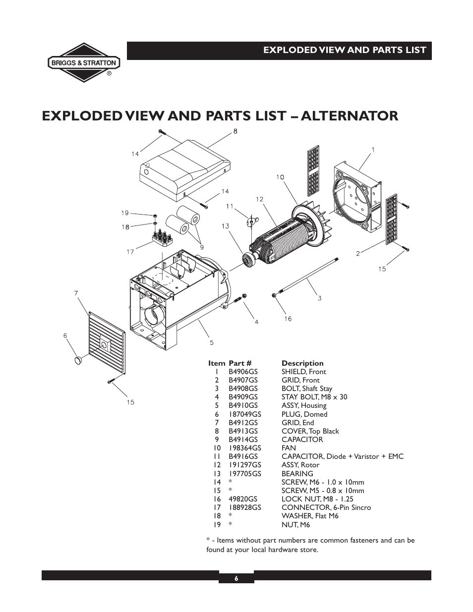 Exploded view and parts list