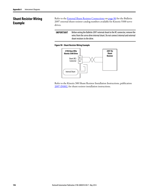 small resolution of shunt resistor wiring example rockwell automation 2198 hxxx kinetix 5500 servo drives user manual user manual page 194 244