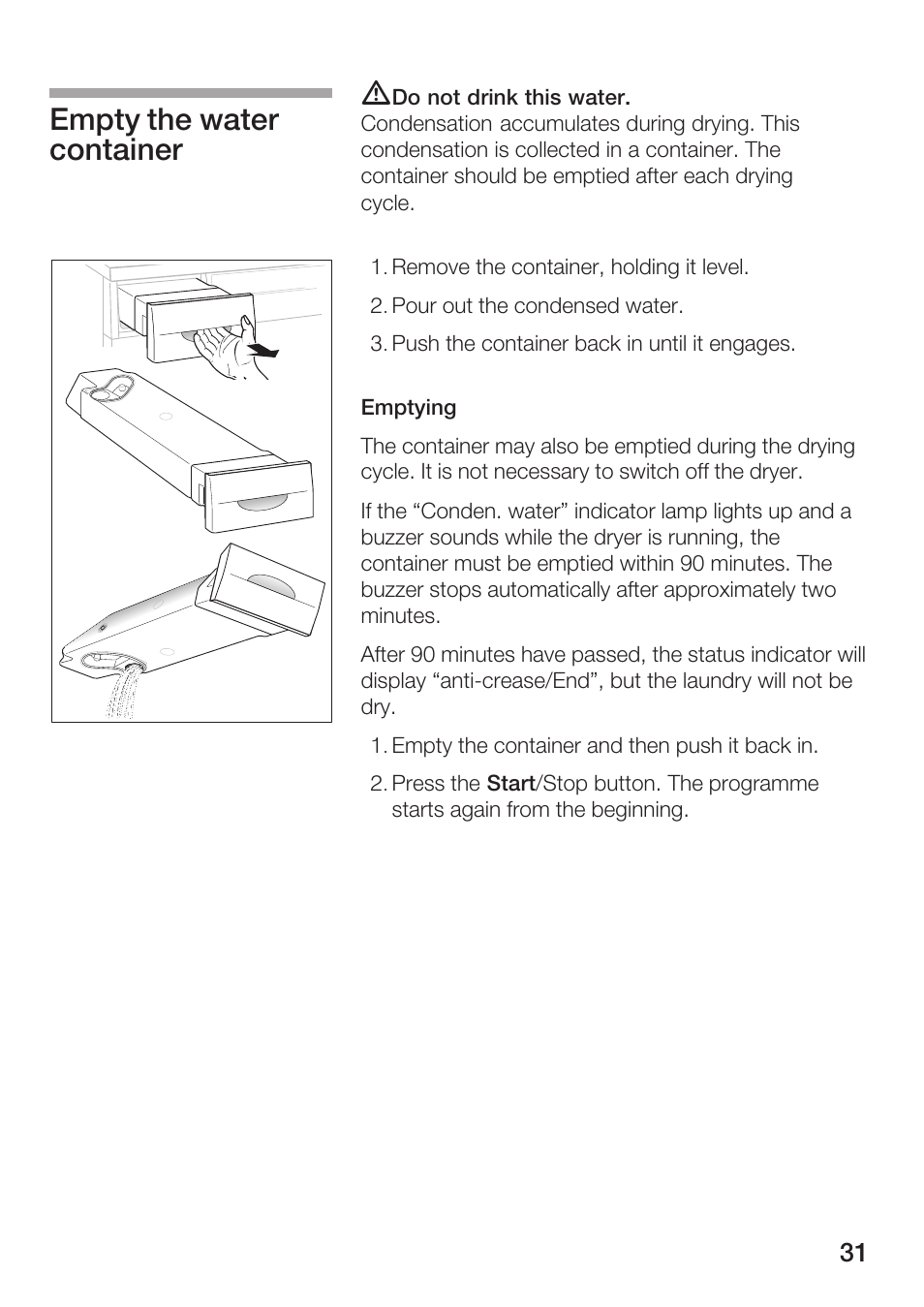hight resolution of empty the water container bosch maxx wtl 6500 user manual page 31 48