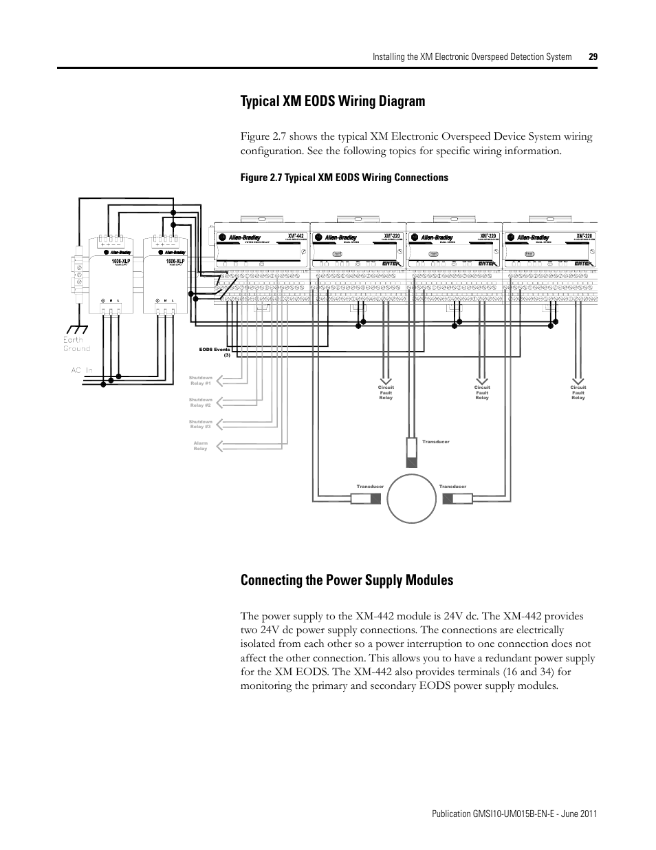 hight resolution of typical xm eods wiring diagram connecting the power supply modules figure 2 7 typical xm eods wiring connections rockwell automation 1606 xlp xm