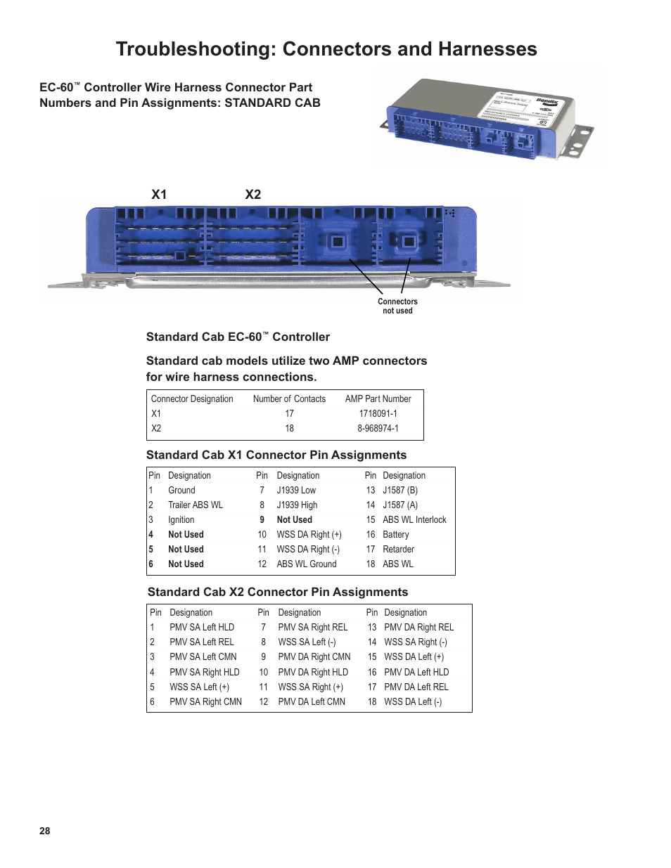 medium resolution of troubleshooting connectors and harnesses x1 x2 bendix commercial vehicle systems ec 60 atc std prem controllers user manual page 28 44