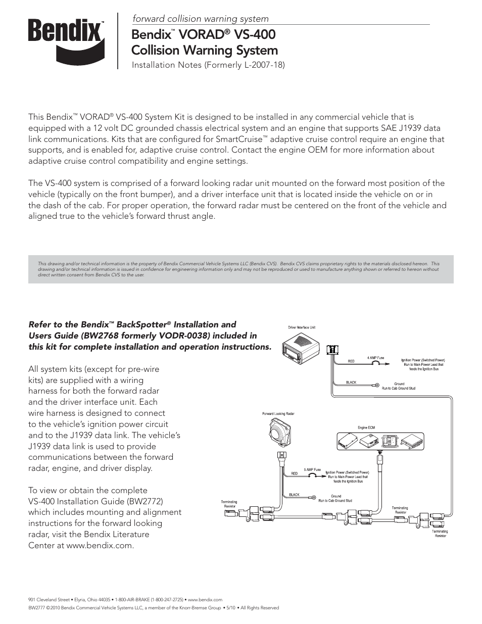 medium resolution of bendix commercial vehicle systems vorad vs 400 installation notes user manual 1 page