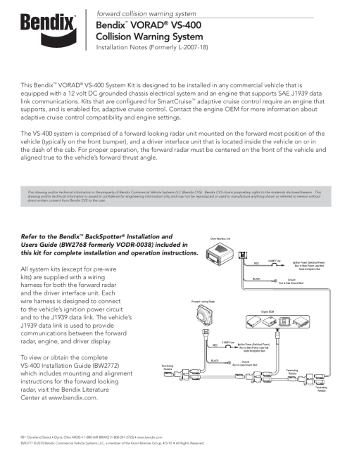 small resolution of bendix commercial vehicle systems vorad vs 400 installation notes user manual 1 page