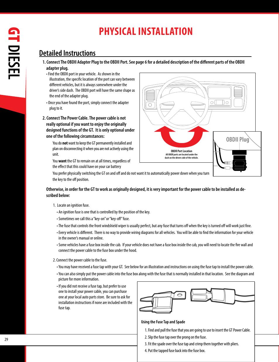 medium resolution of gt diesel physical installation obdii adapter plug installation diagram bully dog 40420 gauge