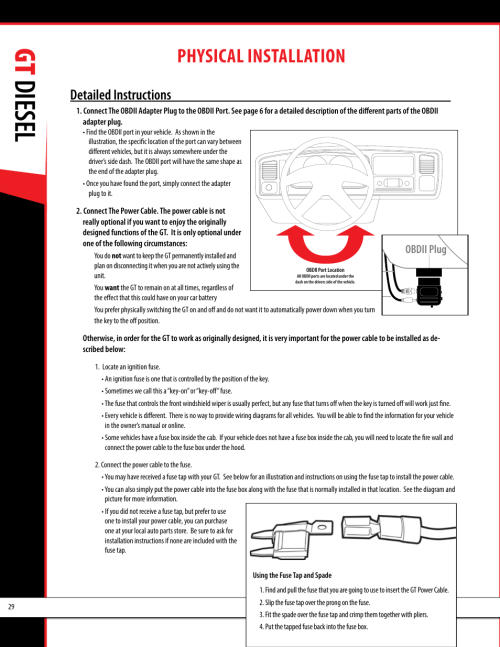 small resolution of gt diesel physical installation obdii adapter plug installation diagram bully dog 40420 gauge