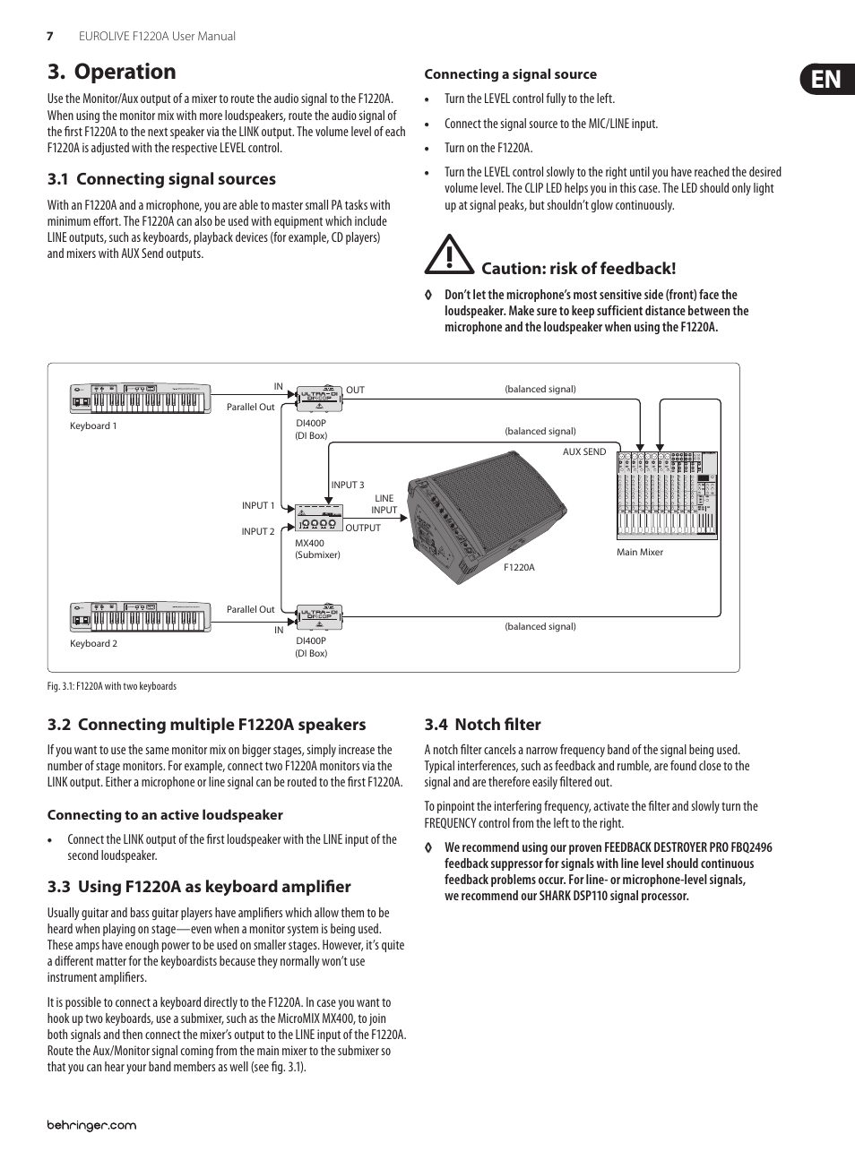 hight resolution of operation 1 connecting signal sources 2 connecting multiple f1220a speakers behringer eurolive f1220a user manual page 7 10