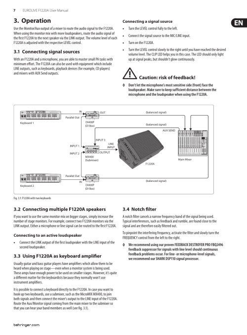 small resolution of operation 1 connecting signal sources 2 connecting multiple f1220a speakers behringer eurolive f1220a user manual page 7 10