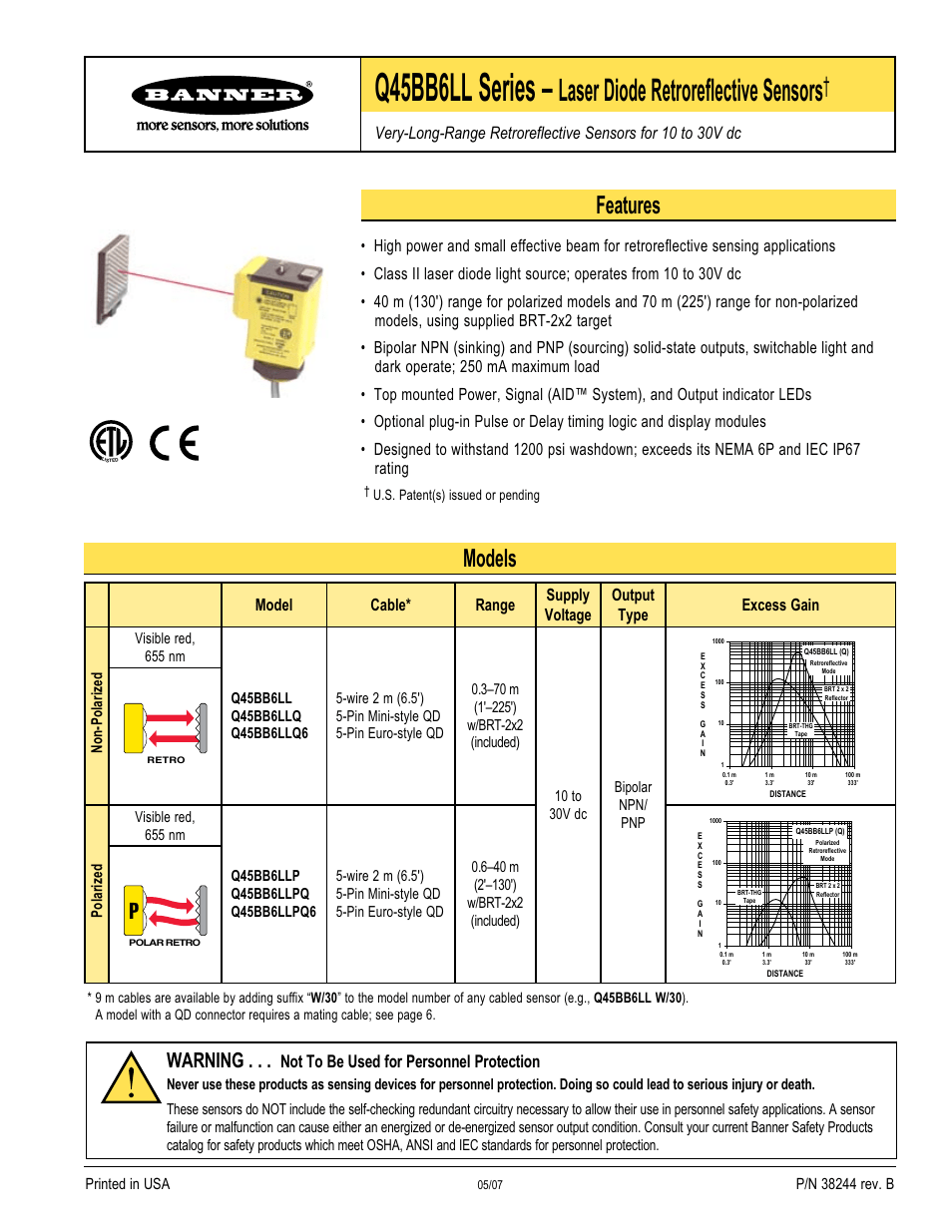 hight resolution of banner q45 laser dc series user manual 8 pages also for q45 series rh manualsdir com 5 pin audio wiring diagram chinese cdi wiring diagram for