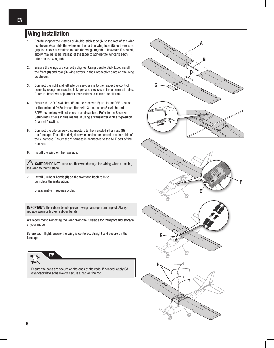 hight resolution of wing installation e flite apprentice s 15e rtf with safe user manual page 6 28