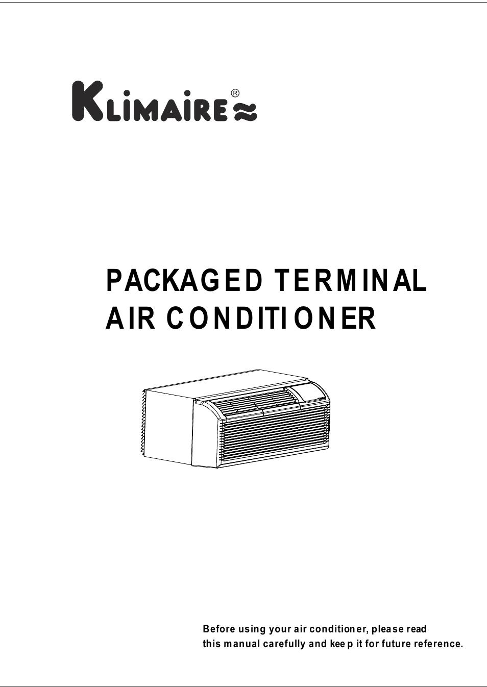 Klimaire KTHM015-E5H2 PTAC Installation Manual User Manual