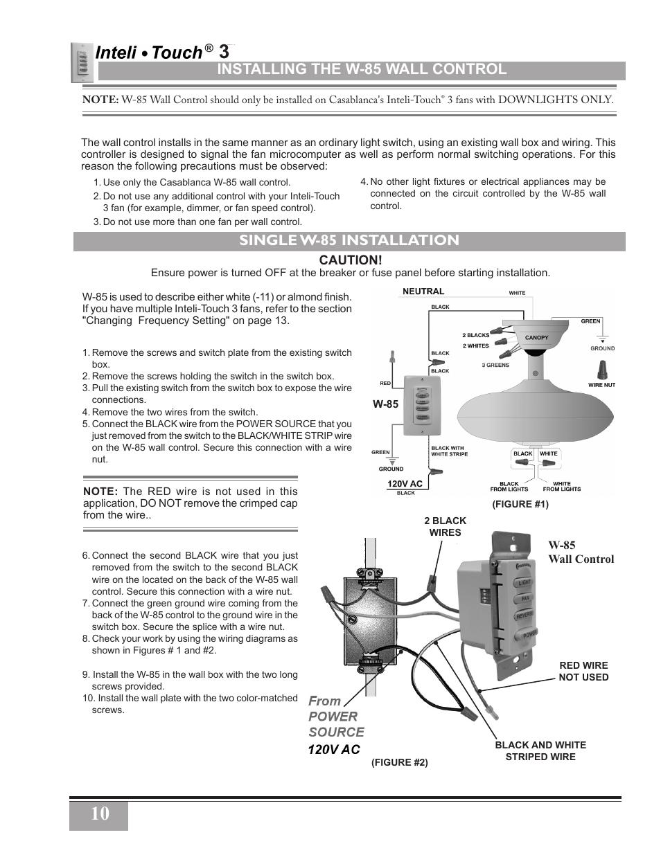 medium resolution of installing the w 85 wall control single w 85 installation casablanca fan company inteli touch 3 pn user manual page 10 17