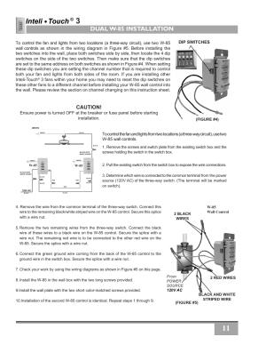 Dual w85 installation, Caution | Casablanca Fan Company InteliTouch 3 PN User Manual | Page 11