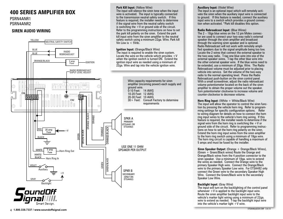 400 series amplifier box, Siren audio wiring, Psrn4anr1