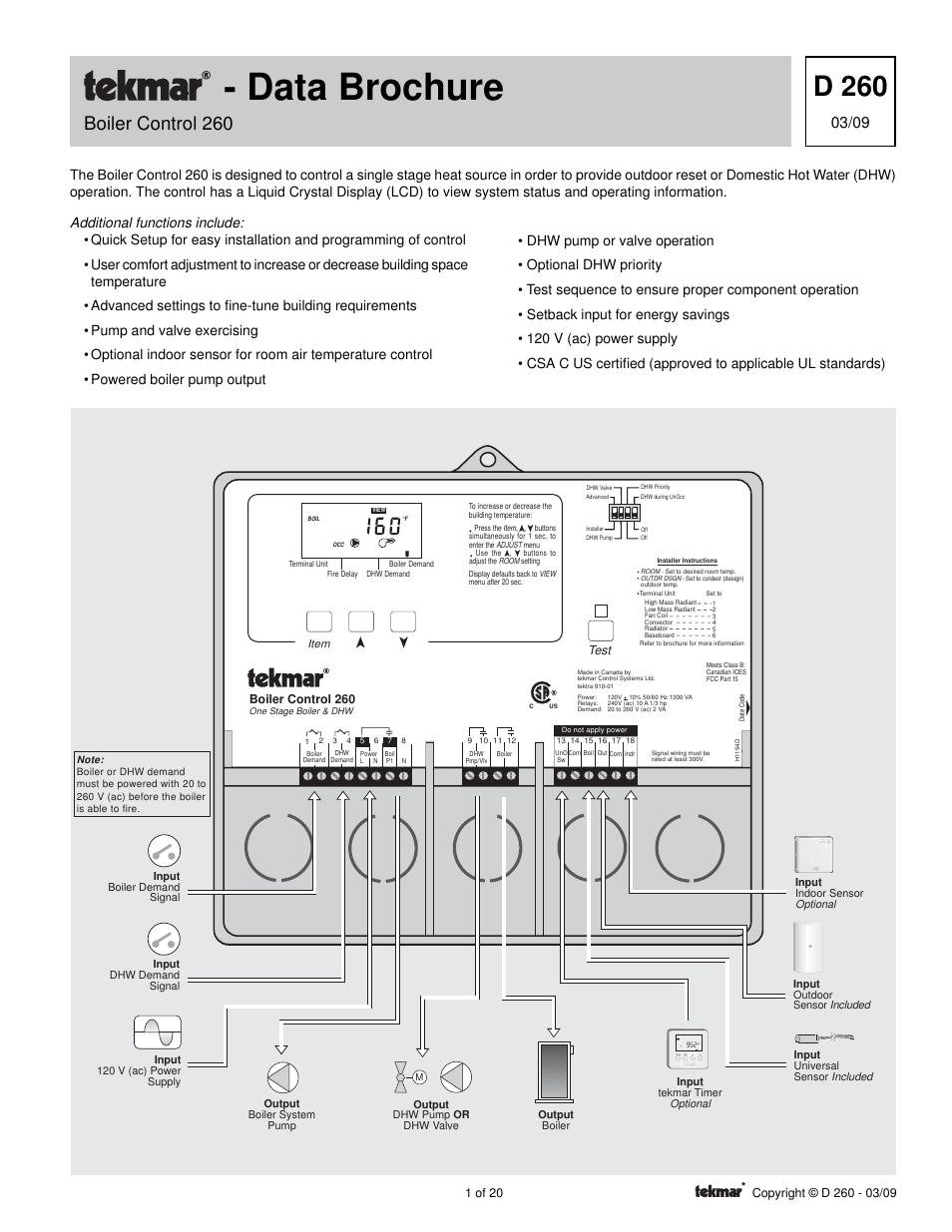 hight resolution of tekmar 260 boiler control user manual 20 pages tekmar wiring diagram tekmar wiring diagram