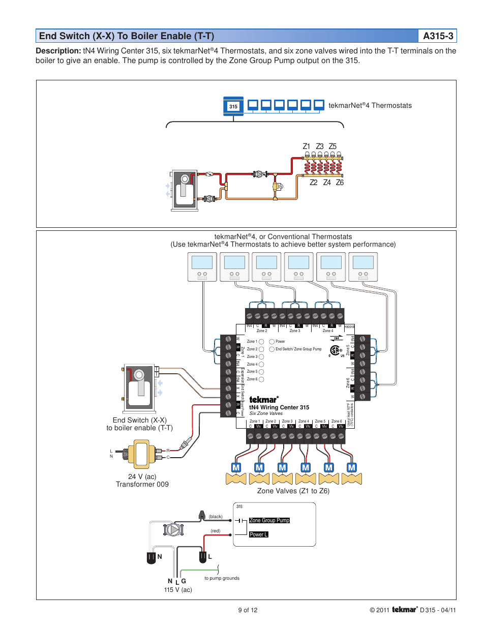 medium resolution of end switch x x to boiler enable t t a315 3 description tn4 wiring center 315 six tekmarnet z1 z2 z3 z4 tekmar 315 tn4 wiring center installation