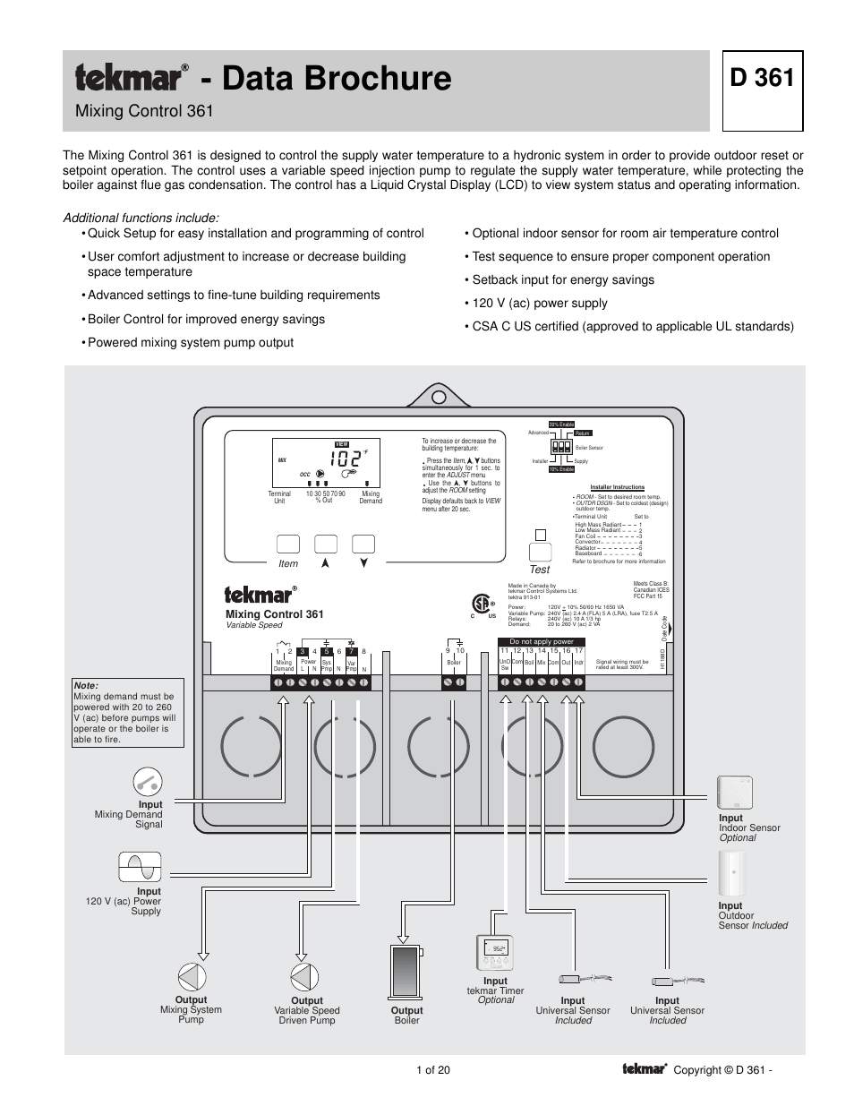 hight resolution of tekmar wiring diagram wire management wiring diagram tekmar 361 mixing control user manual 20 pages