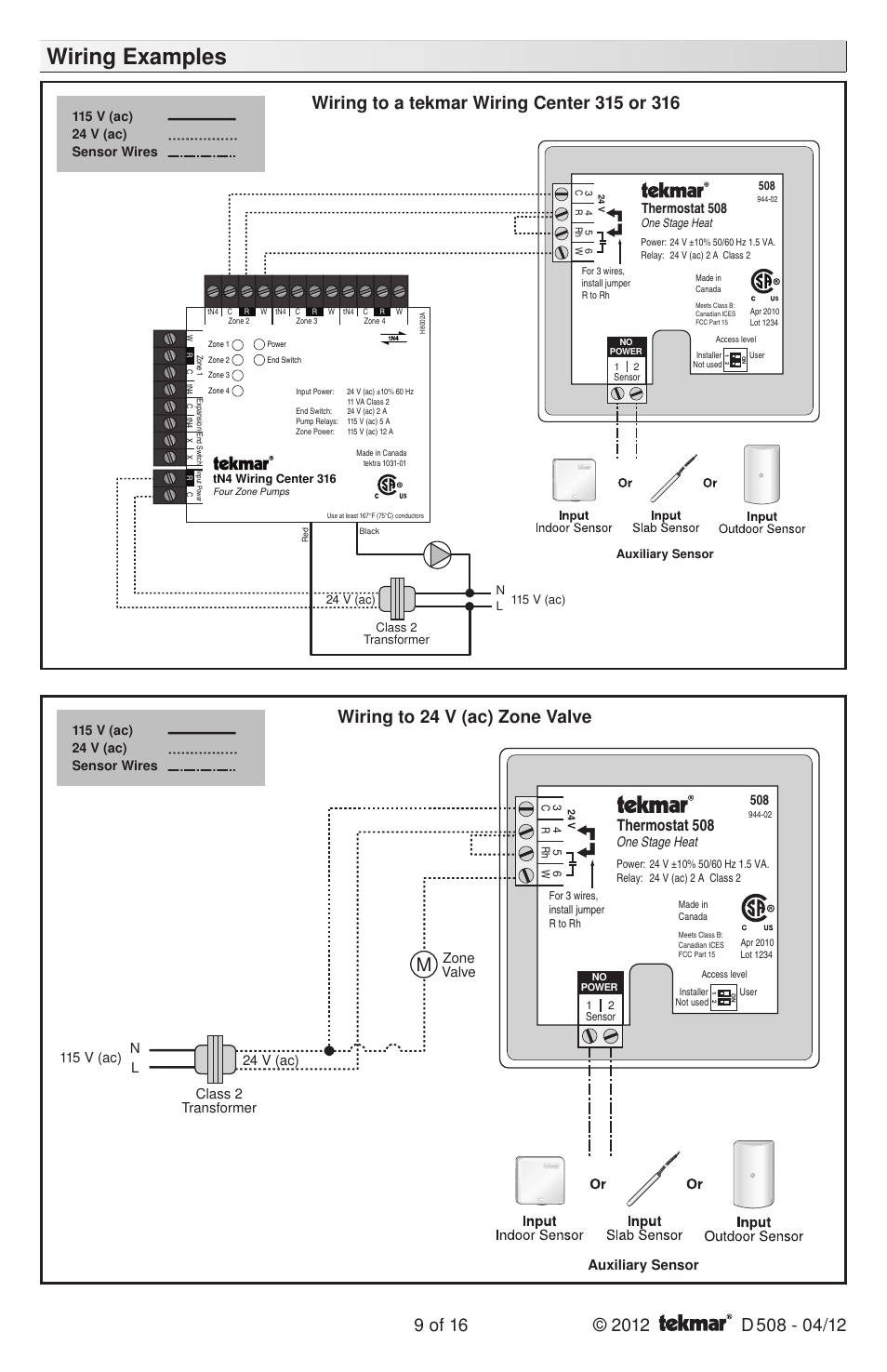 medium resolution of wiring examples thermostat 508 zone valve tekmar 509 thermostat installation user manual page 9 16
