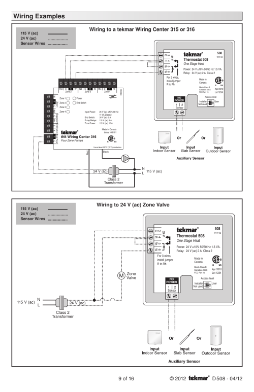 small resolution of wiring examples thermostat 508 zone valve tekmar 509 thermostat installation user manual page 9 16