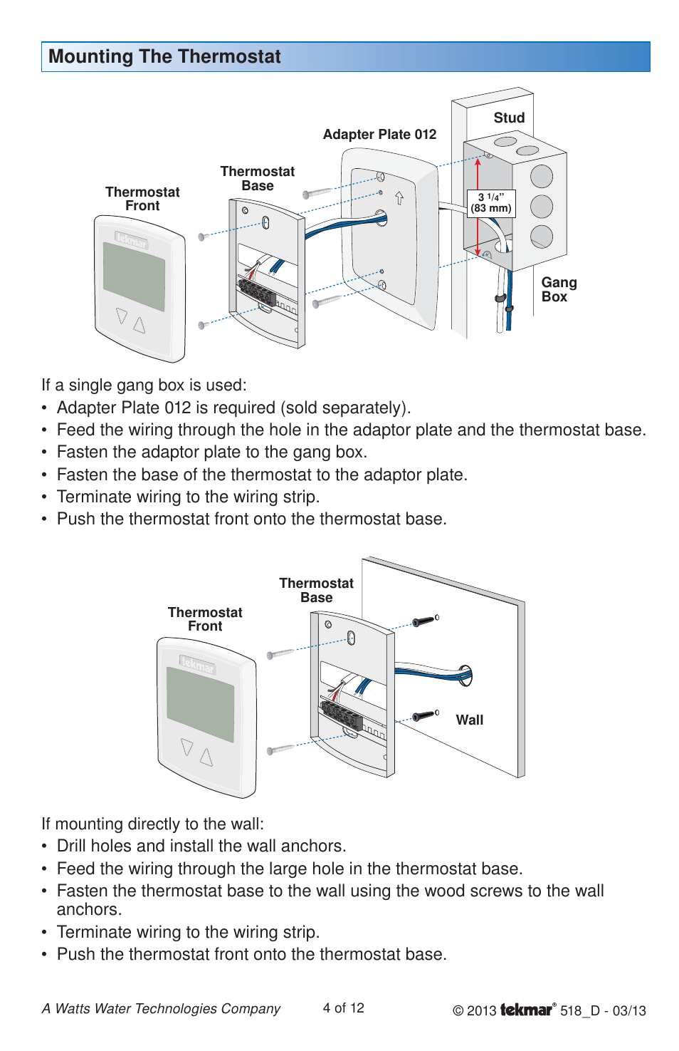 medium resolution of mounting the thermostat if mounting directly to the wall if a tekmar 518 wiring diagram