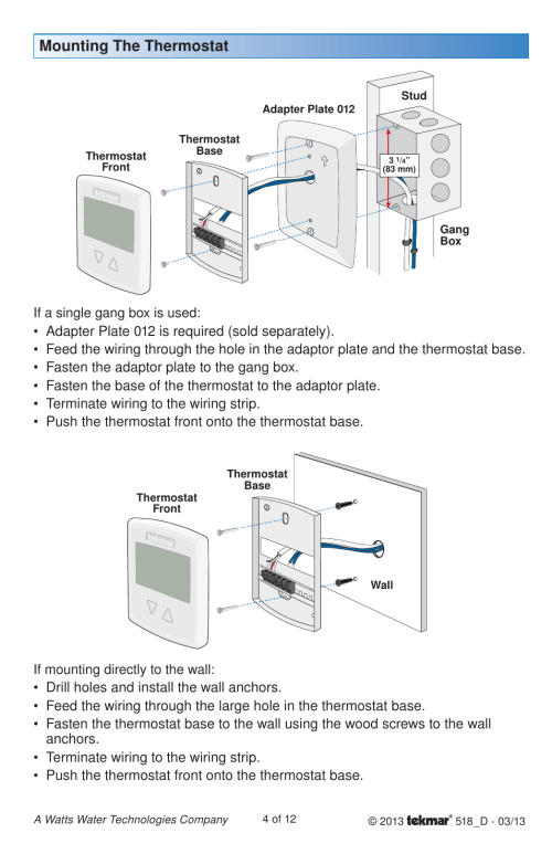 small resolution of mounting the thermostat if mounting directly to the wall if a tekmar 518 wiring diagram
