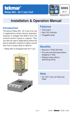 tekmar 003 Relay User Manual | 4 pages