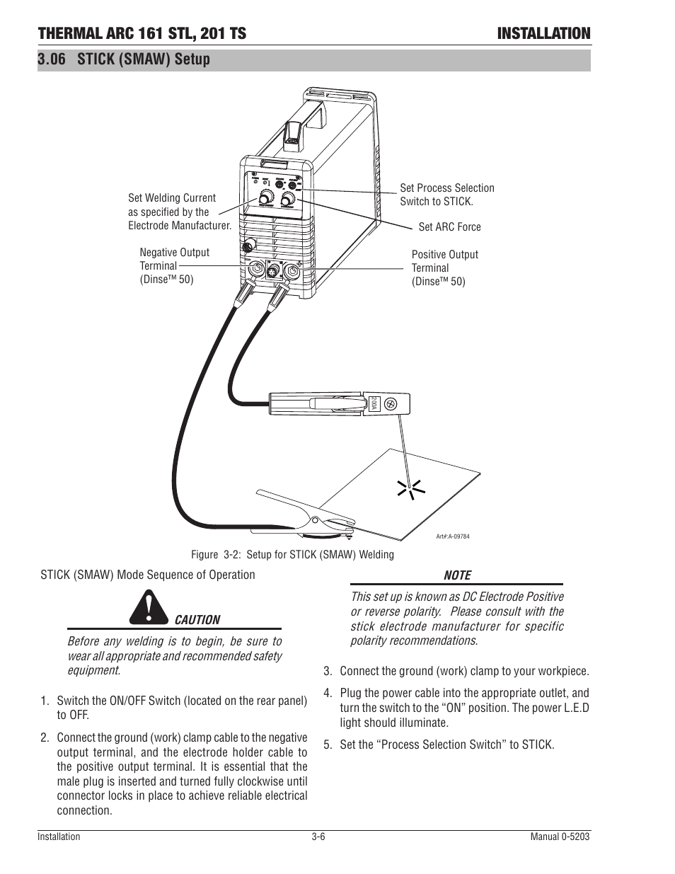 medium resolution of 06 stick smaw setup tweco 201 ts thermal arc user manual page 24 58