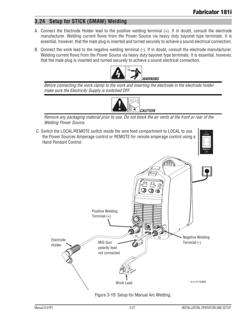 small resolution of 24 setup for stick smaw welding setup for stick smaw welding 27 fabricator 181i tweco 181i thermal arc fabricator user manual page 57 96
