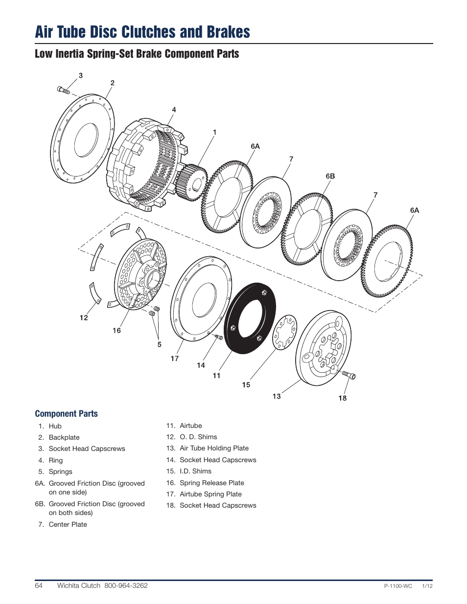 Air tube disc clutches and brakes, Low inertia spring-set