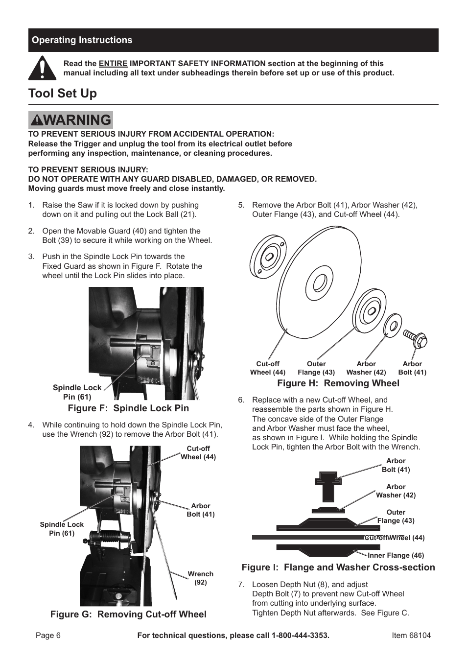 Tool set up, Operating instructions, Figure f: spindle