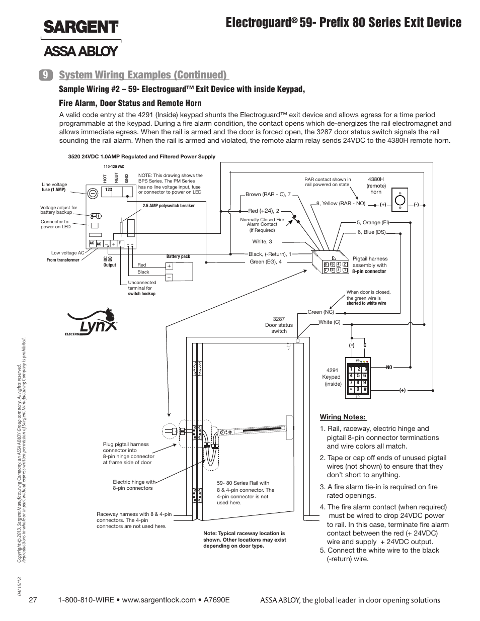 hight resolution of electroguard prefix 80 series exit device system wiring examples continued 9 sargent fm8700 surface vertical rod exit device user manual page 27